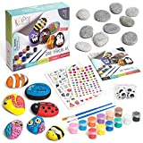 Kipipol Rock Painting Kit for Kids - DIY Arts and Crafts Set for Girls, Boys Ages 3, 4, 5 and Up - Fun Outdoor Activities w/10 Stones, 12 Acrylic Paints, 2 Brushes, 15 Googly Eyes, 2 Transfer Sheets (Toy)