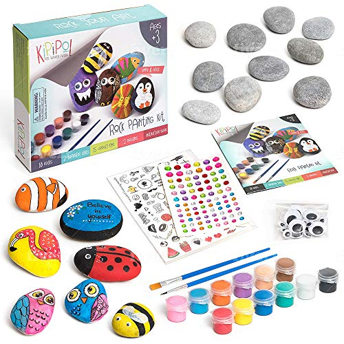 Kipipol Rock Painting Kit - DIY Arts and Crafts for Kids Ages 8-12, 4-8 - Fun Outdoor Toys for Girls and Boys - Art Set w/10 Stones, 12 Acrylic Paints, 2 Brushes, 15 Googly Eyes, 2 Transfer Sheets
