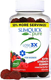 Slimquick Pure Extra Strength Gummies, appetite suppressant, dietary supplement, 60 Count- Lose 3x the weight (Packaging May Vary)