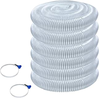 POWERTEC 70246 Heavy Duty 4-Inch x 50-Foot Flexible PVC Dust Collection Hose with 2 Key Hose Clamps, Clear Color