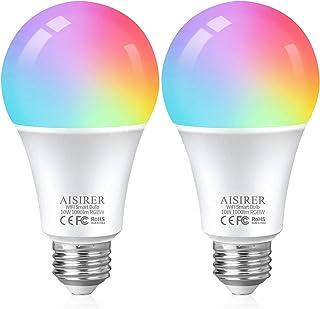 AISIRER Lampadine Alexa WiFi RGB 10W 1000 LM 90W Equivalente, Lampadina Smart E27, Dimmerabile Multicolore e Bianco Caldo,...