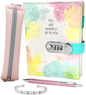 ژورنال قفل چرمی PU برای دختران - ست هدیه دفتر خاطرات شامل گلوله ای از دفترچه گلوله است که از رمز عبور محافظت شده با قفل ترکیبی ، کیف مداد زیبا ، دستبند النگو و خودکار نوشتن صورتی استفاده می کند