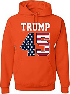 Trump 45 Hoodie The 45th President Political Stars and Stripes Sweatshirt