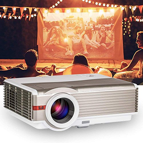 EUG 5000Lumens LCD LED Projector 1080P HD Supported 200' Display Multimedia WXGA Home Theater Projector with HDMI Cable Compatible with Laptop TV Stick Chromecast Roku Xbox Wii Outdoor Movie Proyector
