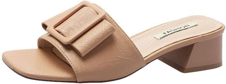 Mr Z Waroom Fashion Women Elegant Buckle Square Toe Heel Sandals Outdoor Slide Slipper shoes Summer Slippers flip Flops