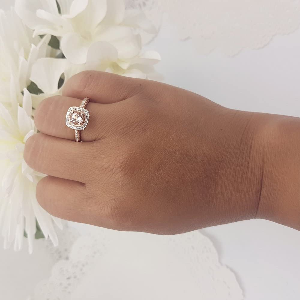 Dazzlingrock Collection 14K Gold Round Cut Morganite & White Diamond Ladies Split Shank Halo Engagement Ring Set