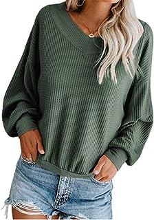 Jersey Punto Mujer Camisas Manga Larga Chaqueta de Punto Sueter Mujer Básico V Cuello Jerseys Primavera Verano Otoño Suéter