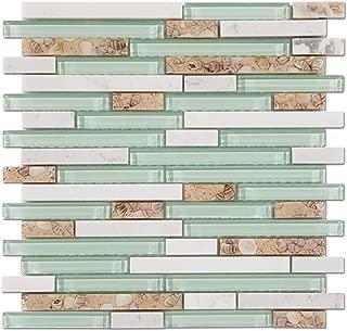 Diflart Glass Tile Mother of Pearl Shell Resin Tile for Kitchen Backsplash Green Lake White Stone Interlocking Pack of 5 Sheets