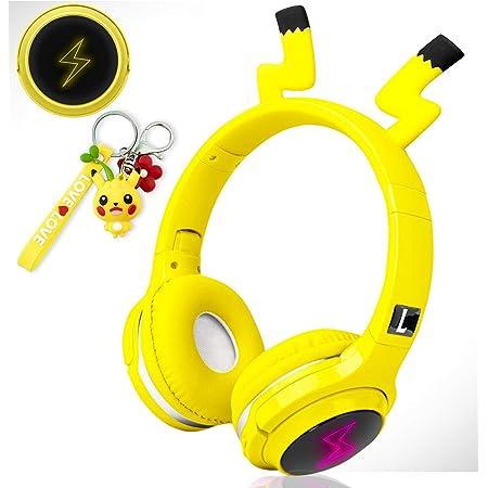 Audífonos inalámbricos para niños, niñas, mujeres, audífonos Bluetooth de diadema color amarillos para smartphones, iPhone, iPad, laptop, computadora, televisor, juegos, audífonos sobre el oído, plegables, con micrófono y luz LED