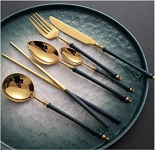 XJZKA Ensemble de Couverts créatifs, Ensemble de Vaisselle en Bambou Vert Or, cuillère à thé, cuillère à Soupe, Baguettes ...