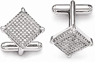 925 Sterling Silver Pave Rhodium plated and CZ Cubic Zirconia Simulated Diamond Brilliant Embers Cufflinks Jewelry Gifts f...