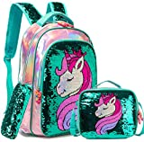 Girls Backpack Set for School with Lunch Bag Magic Unicorn Reversible Sequin Bookbag for Elementary Preschool Backpacks