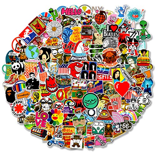 200 pcs Cool Random Stickers Vinyl Skateboard Stickers, Variety Pack for Laptop Guitar Travel Case Water Bottle Car Luggage Bike Sticker Waterproof Graffiti Decals,Gift for Teens Adult