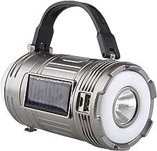 SOONHUA Camping Lantaarn Oplaadbaar, Zonne-energie Zaklamp Multi-Functie Outdoor USB Zaklampen ZILVER