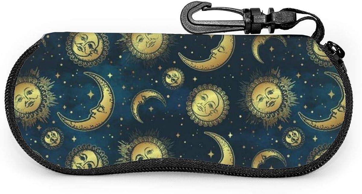 Boho Celestial Bodies Gold Sun Moon And Stars Sunglasses Soft Case Ultra Light Neoprene Zipper Eyeglass Case With Key Chain