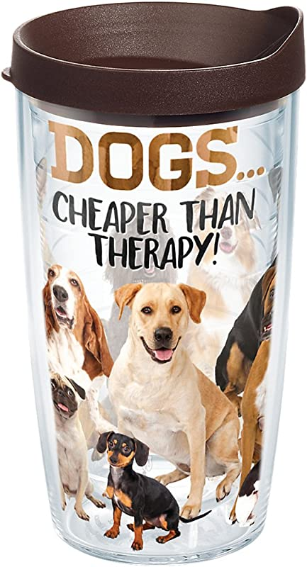 Tervis 1249733 Dog Therapy Tumbler With Wrap And Brown Lid 16oz Clear