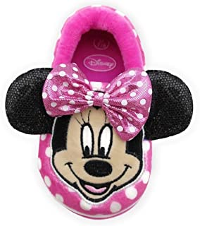 Disney Minnie Mouse Toddler Girls' Pink Bow Slippers, X-Large(11-12)