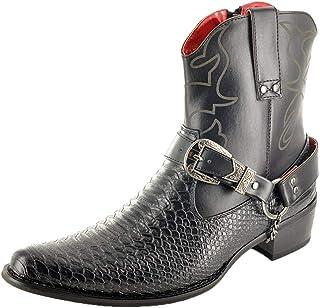 Botas para hombre, con cremallera, hasta el tobillo, de piel de serpiente, estilo vaquero