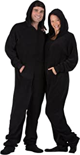Footed Pajamas - Jet Black Adult Hoodie Chenille Onesie