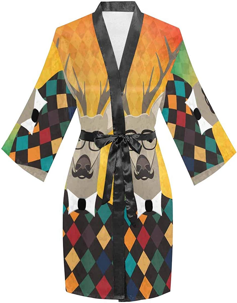 OFFer InterestPrint Women's Long Sleeve Kimono Cheap mail order sales for Robe Beac with Belt