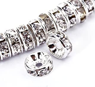 BRCbeads 6mm Silver Plated Crystal Rondelle Spacer Beads 100pcs per Bag for jewelery Making(#001 Clear Crystal)