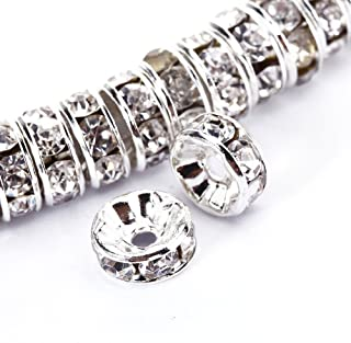 BRCbeads 8mm Silver Plated Crystal Rondelle Spacer Beads 100pcs per bag for jewelery making(#001 Clear Crystal)