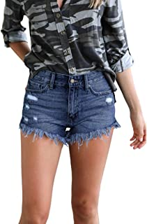Inlefen Womens Shorts Skinny Summer High Waisted Broken Hole Short Jeans