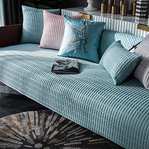 YUTJK Latex-Sofakissen ist im Sommer cool,Sofa-Überwürfe,Gemütlich Schonbezug Sofabezug Anti Slip Anti-Dropping Armlehne Rückenlehne Abdeckung,Blau_90×70cm