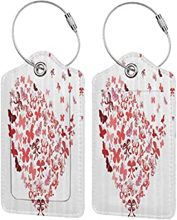Flexible luggage tag Love Decor Collection Butterfly Heart for Valentine Anniversary Celebration Fashion Decorating Art Image Fashion match Burgundy Salmon W2.7