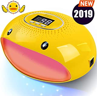 PrettyDiva UV Nail Lamp - 54W LED UV Gel Nail Light Nail Dryer for Gel Nail Polish Curing Lamp with Auto Sensor LCD Screen for Fingernails & Toenails - Cartoon Yellow