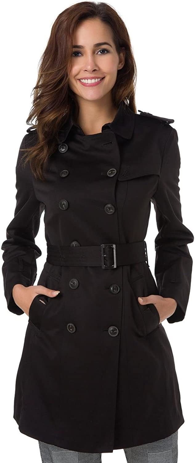 Flatik Women's DoubleBreasted Trench Coat with Removable Belt