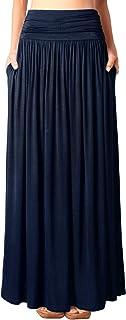 DJT Women's High Waisted Shirring Flowy Long Maxi Skirt