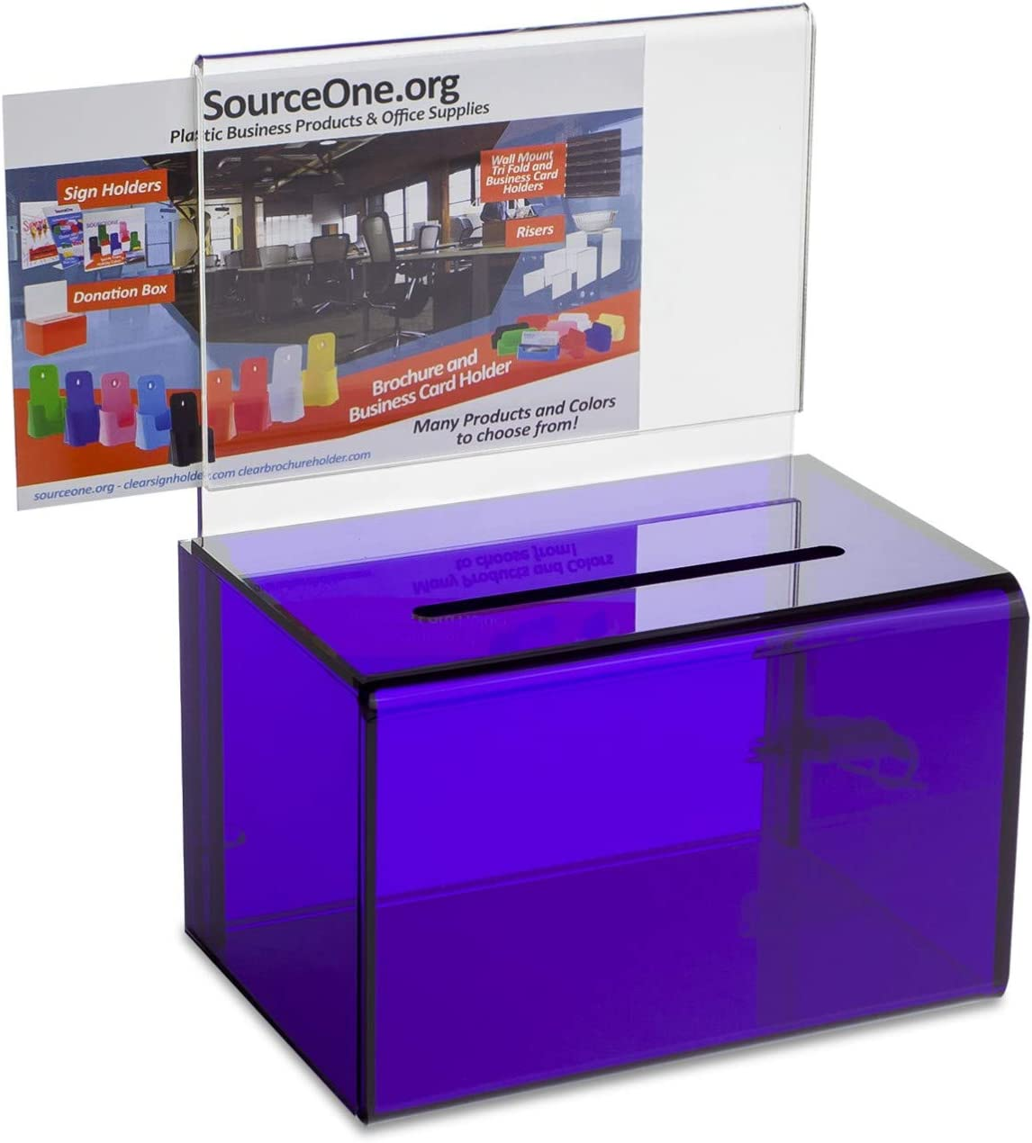 SourceOne Donation Box with 当店一番人気 Sign 格安 価格でご提供いたします Holder Inch 5 6 Wide and Lock