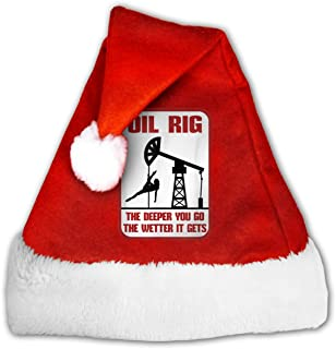 EOYIJIUWU Cute Christmas Hats Oil Rig The Deeper You Go Santa Hats for Christmas Costume Party Decoration
