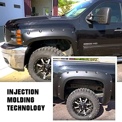 APS Injection Moulding Pocket Rivet Style Impact Resistance Polypropylene Fender Flare Compatible with 2007-2014 Chevrolet Silverado 1500 2500HD 3500HD (Standard Bed 6.5ft & Long Bed 8ft)