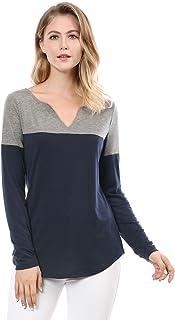 Allegra K Women's Henley Split V-Neck Tops Long Sleeve Color Block T-Shirt