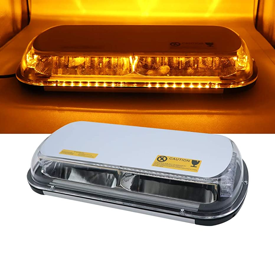 Didieyes 17in 44w LED Warning Strobe Light Short Row Caution Emergency Hazard Flashing Lamps with 10 Models Controller Magnetic Base for Truck Construction Snow Plow Vehicles DC12-24v (Amber)