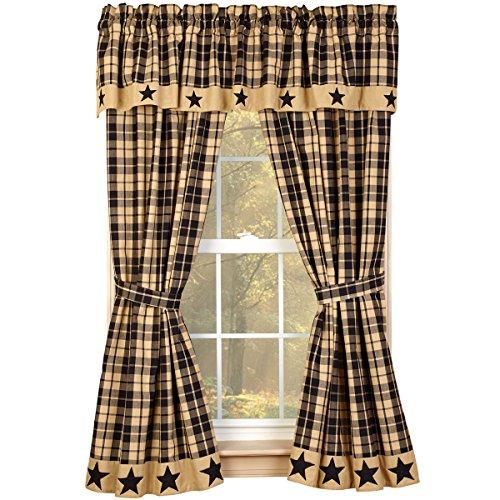 "Black Farmhouse Star 63"" Curtain Panels"