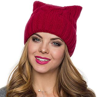 ab85387d48b ALLDECOR Women`s March Puccy Cat Beanie Handmade Knitted Rose Winter Warm  Hat