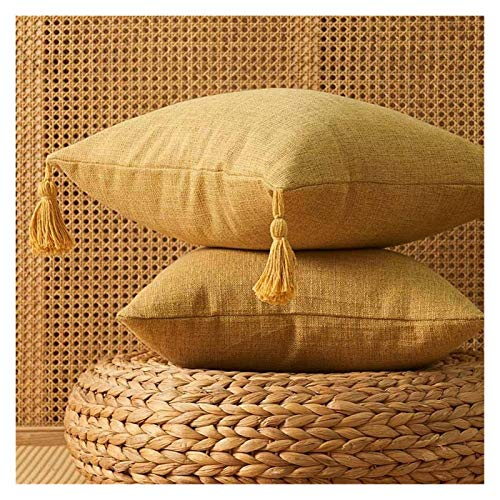 Funda de almohada de lino liso liso de algodón con borlas beige decoración del hogar, funda de cojín de 45 x 45 cm, funda de almohada para sofá (color: borla amarilla)