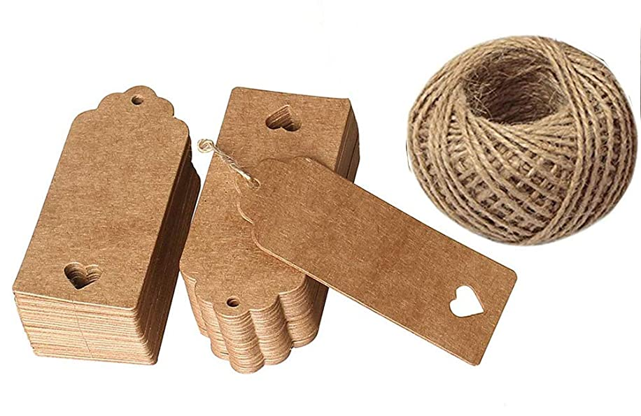 100 PCS Brown String Price Tags with String Attached Hollow Heart Wedding Tags Kraft Paper Gift Label with Free 100 Feet Natural Jute Twine for Wedding Christmas Gift Crafts & Price Hang Tags Labels