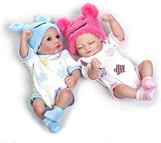 Reborn Baby Dolls, 2pcs 10 inch/26cm Boy and Girl Twins Full Body Soft Silicone Newborn Baby Lifelike Reborn Dolls Gift- ST070092