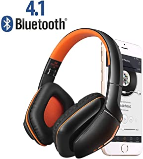 Weton Wireless Gaming Headset, V4.1 Overhead Headphones with Microphone for iOS&Android Smartphones Computers Gaming Devices (Orange)