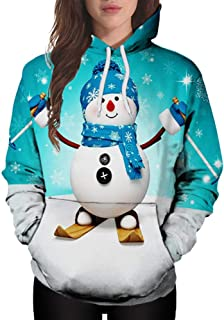 Pgojuni Women Hoodie Autumn Winter Christmas Pocket Cartoon Snowman Print Sweatshirt Pullover 1pc