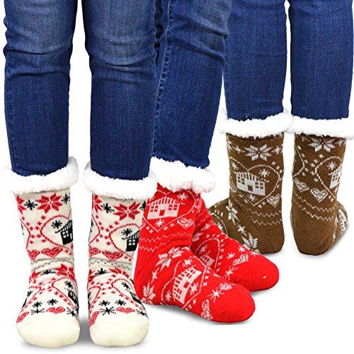 Teehee Womens Soft Premium Thermal Double Layer Crew Socks 3-Pack (Christmas Home)