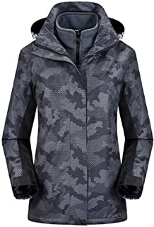 YXHM A Women's Autumn and Winter Outdoor Jacket can be Detached Fleece Winter Clothes Breathable Warm Hiking Jacket (Color : Gray, Size : L)