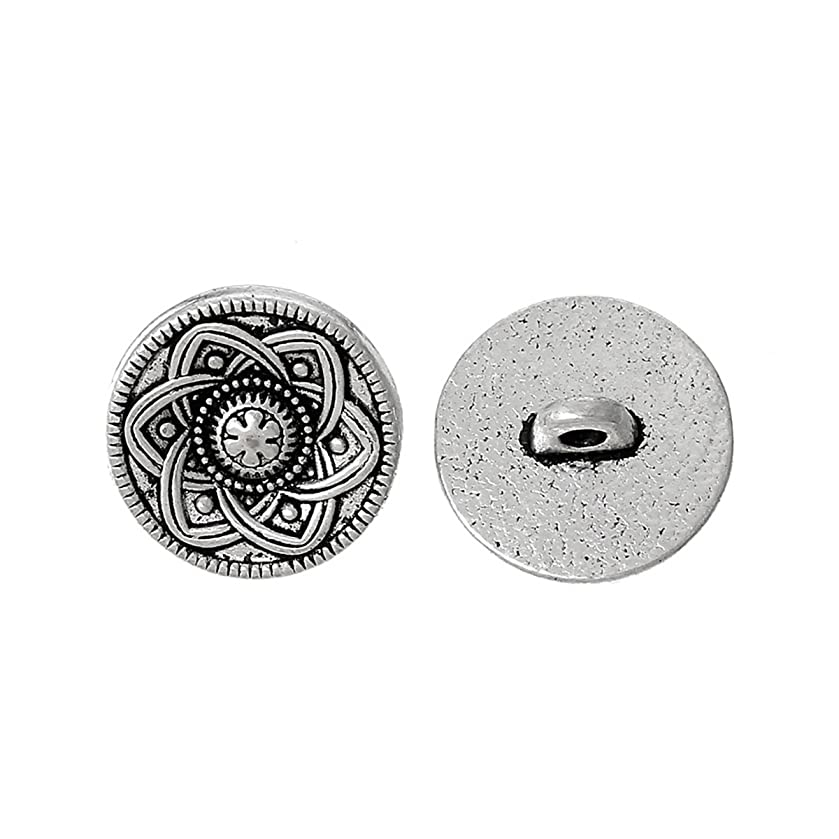 HOUSWEETY 30pcs Silver Tone Flower Decorative Metal Buttons Fit Sewing Scrapbook 15mm