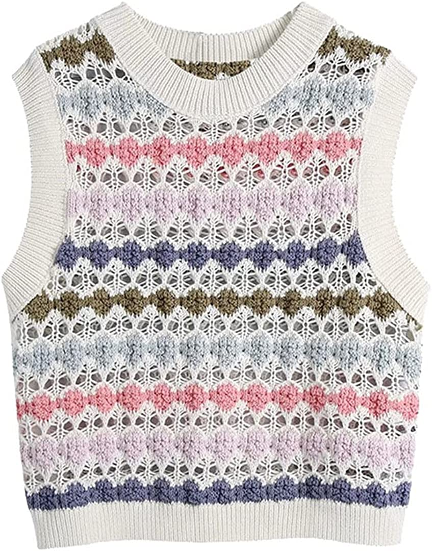 Women Hollow Out Cropped Knitted Vest Sweater Vintage O Neck Sleeveless Waistcoat Chic Tops
