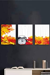 3 Piece Canvas Wall Art, Autumn Leaves Clock Art Abstract Art Canvas Art Paintings, Hand-Painted Oil Painting Wall Art for Living Room Ready, 16