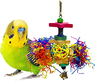 SunGrow Bird Toy, Brightly Colored Playtoy of Rattan, Wood and Shredded Paper, Safe for Small and Medium Parrots, Cockatiels, Lovebirds and Finches